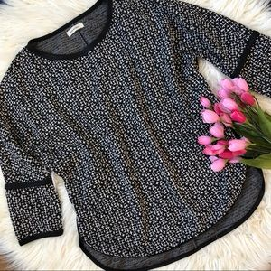 Black and white faux leather trimmed tweed blouse